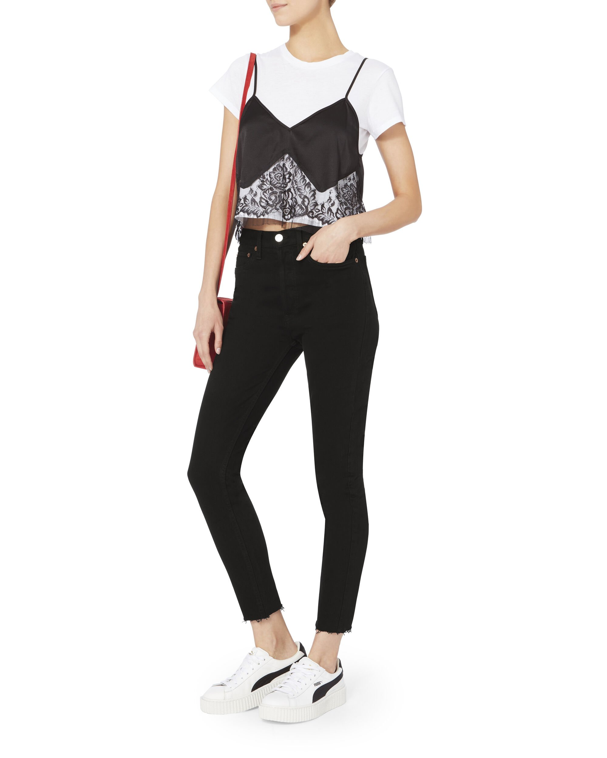 Cropped Hem High-Rise Jeans, BLACK, hi-res