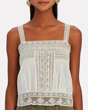 Penny Lace-Trimmed Cotton Tank, IVORY, hi-res