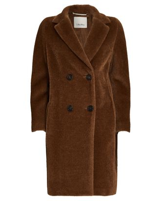 Rosato Double-Breasted Teddy Coat, BROWN, hi-res