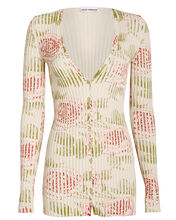 Ribbed Rose Print Cardigan, IVORY/FLORAL, hi-res