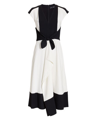 Cap Sleeve Dress, BLK/WHT, hi-res