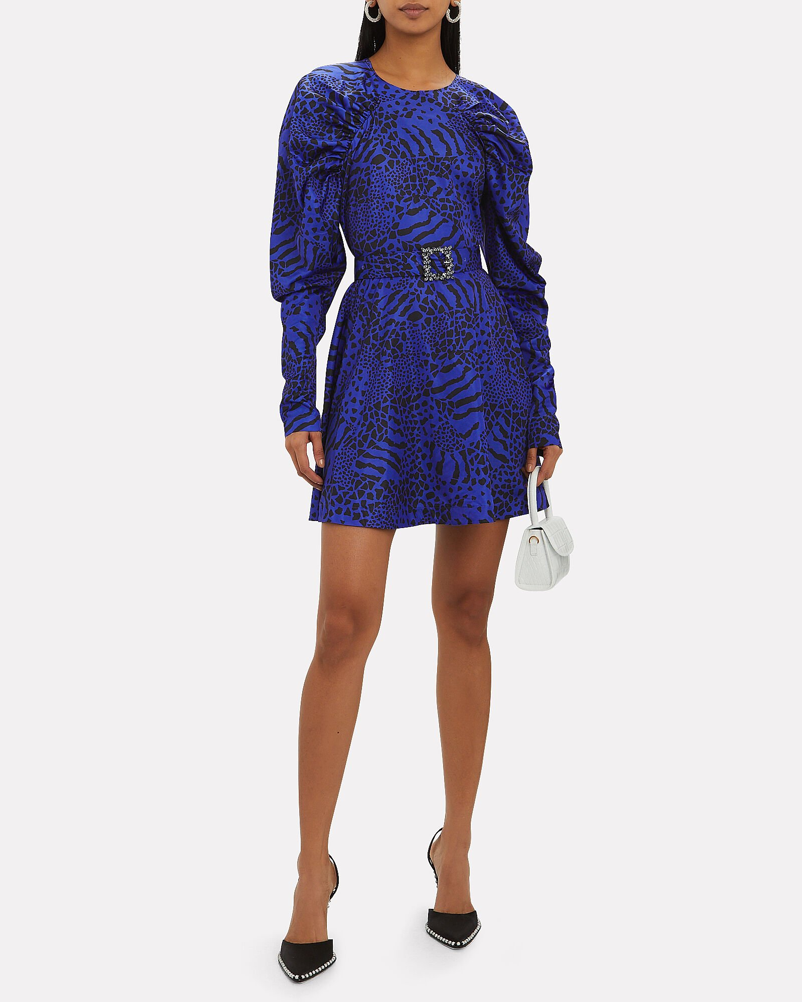 Tara Taffeta Mini Dress, BLUE/ANIMAL PRINT, hi-res