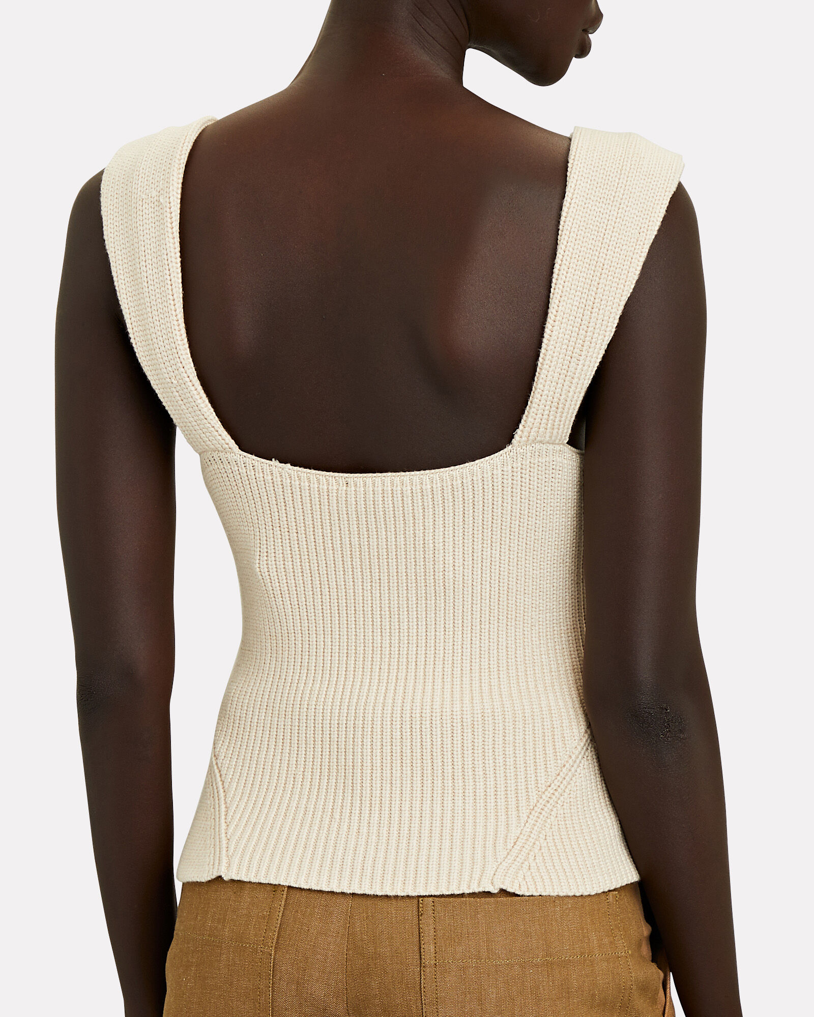 Kira Knit Bustier Tank Top, IVORY, hi-res