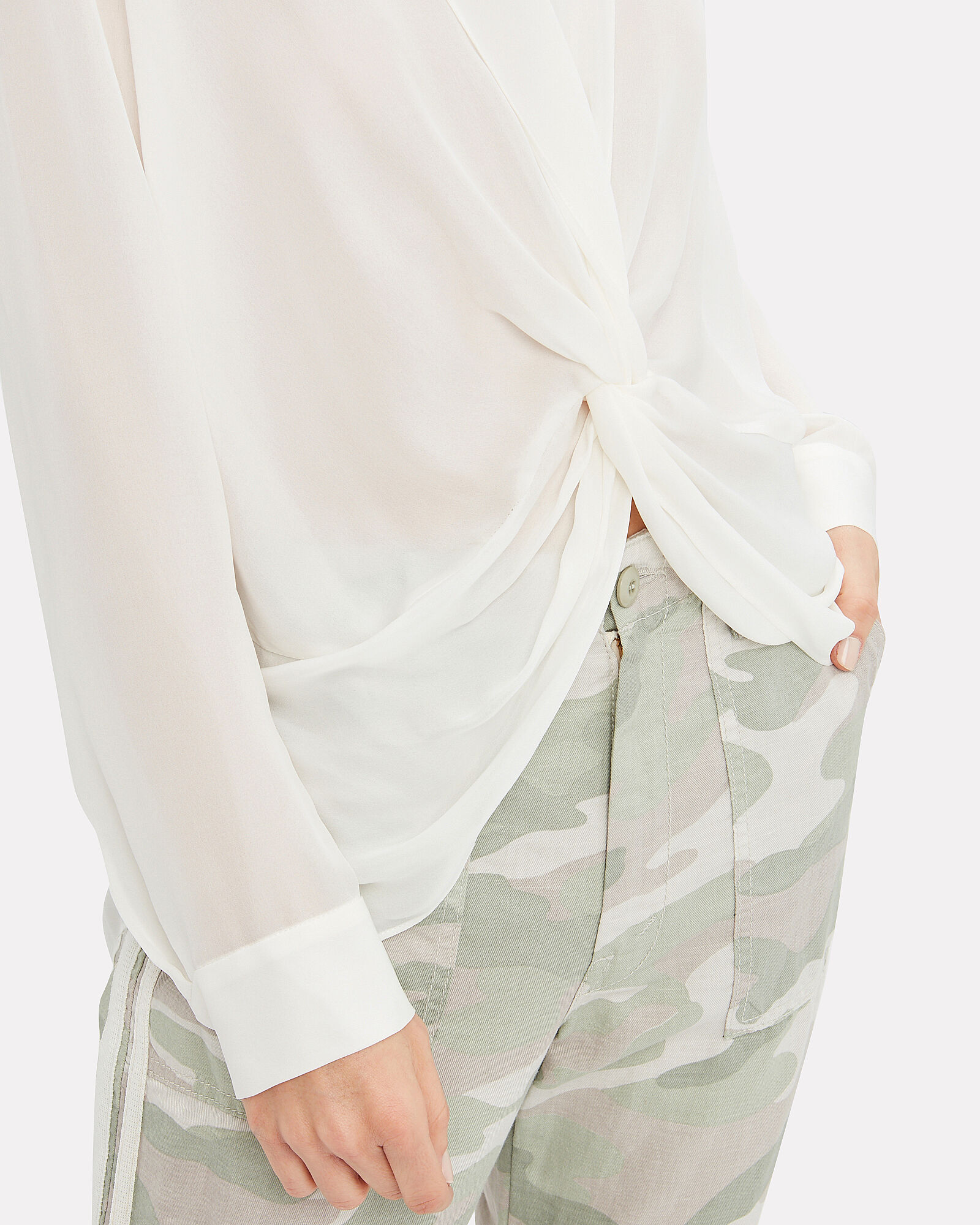 Mariposa Twisted Silk Blouse, IVORY, hi-res