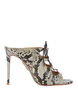 Flirt Lace-Up Snakeskin Mule Sandals, PAT-TREND 2, hi-res
