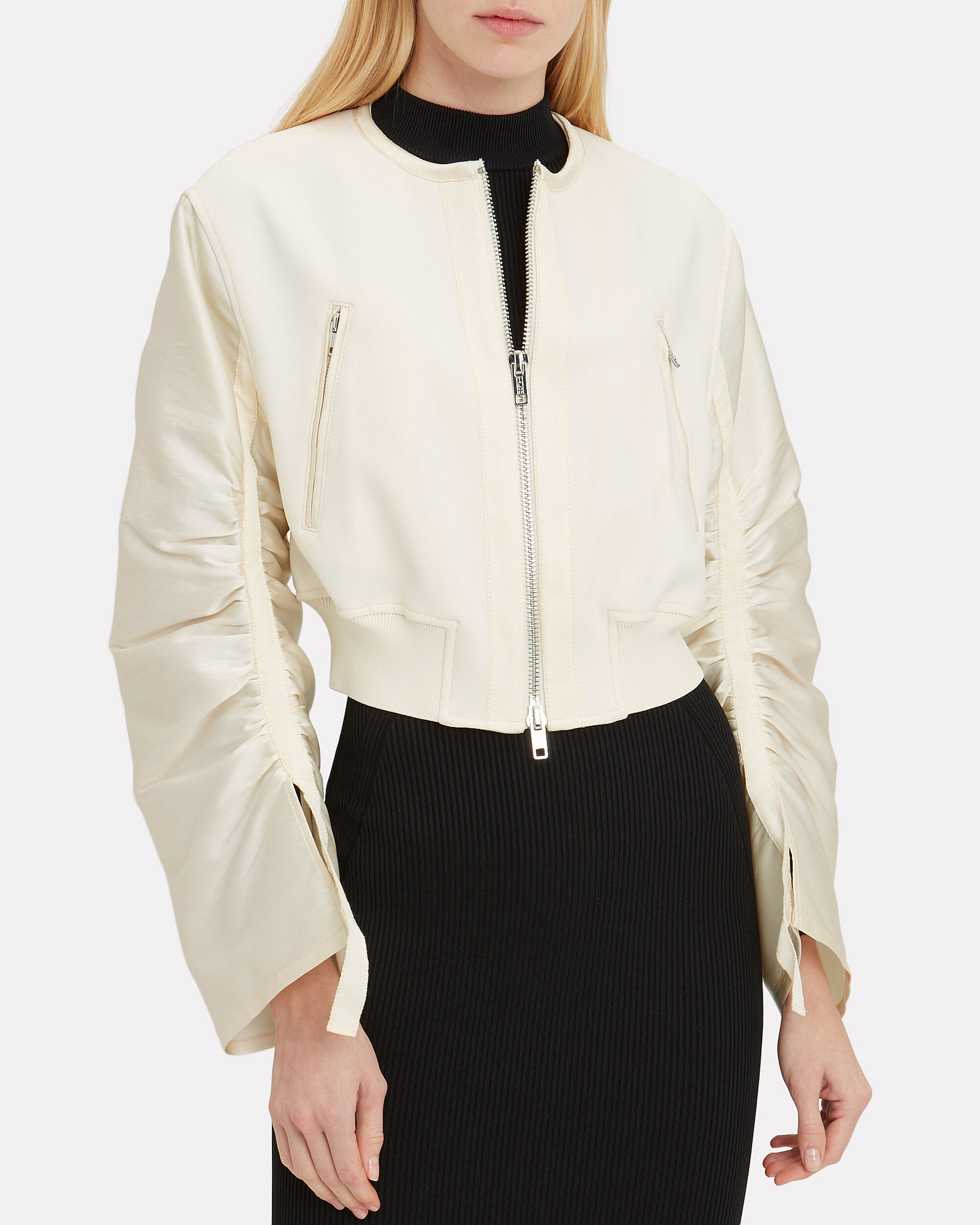 Crepe Gathered Sleeve Bomber Jacket, IVORY, hi-res