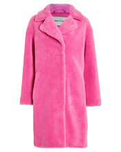 Camille Faux Shearling Cocoon Coat, PINK, hi-res