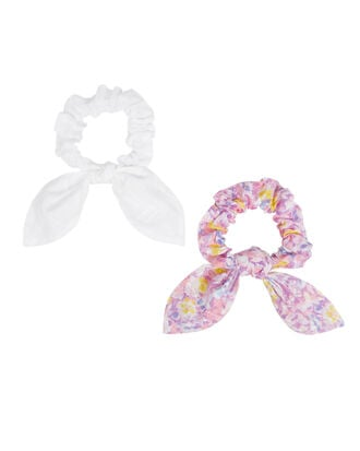 Penny Hair Scrunchies, FLORAL/WHITE, hi-res