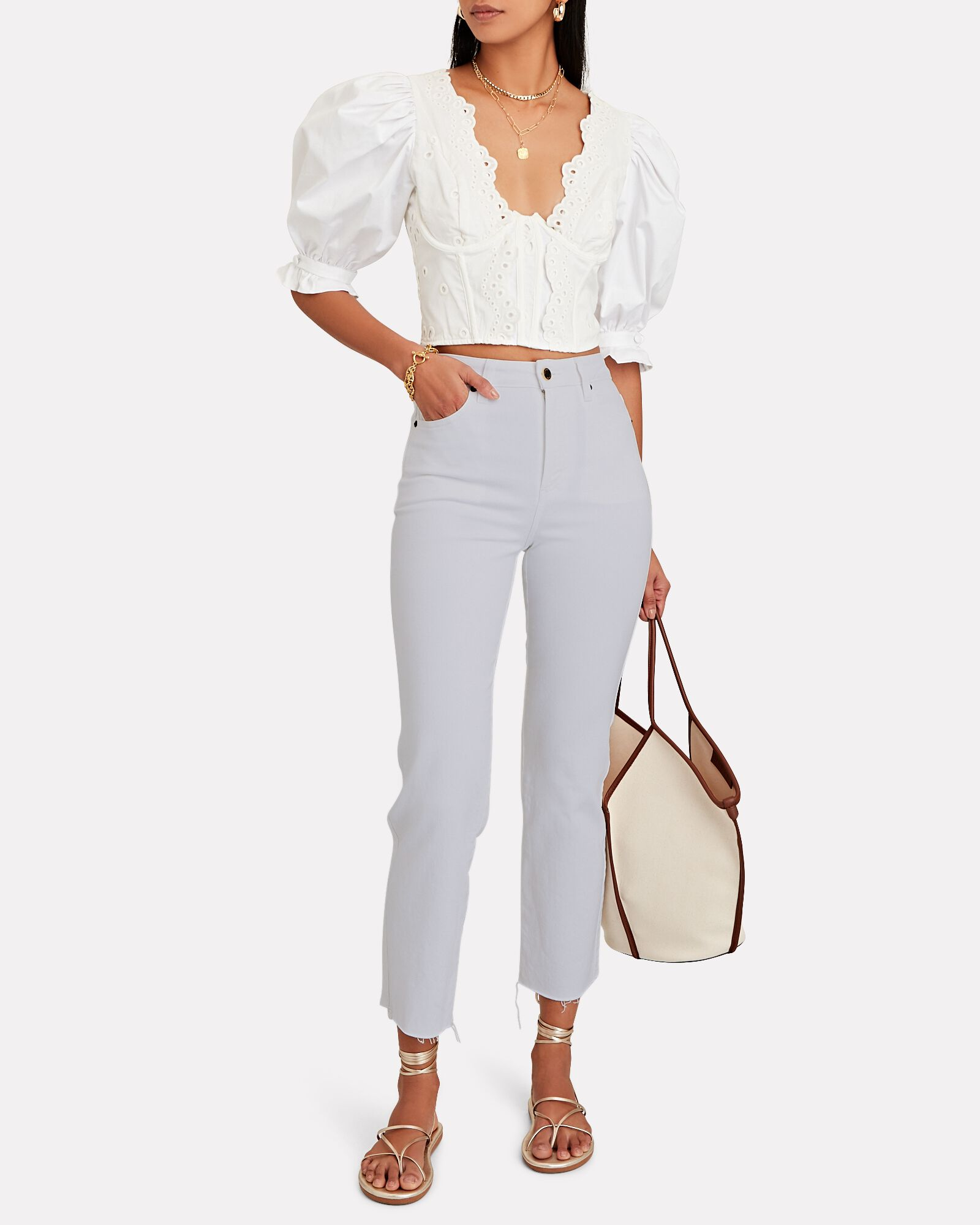 Sabine High-Rise Straight Jeans, WHITE, hi-res