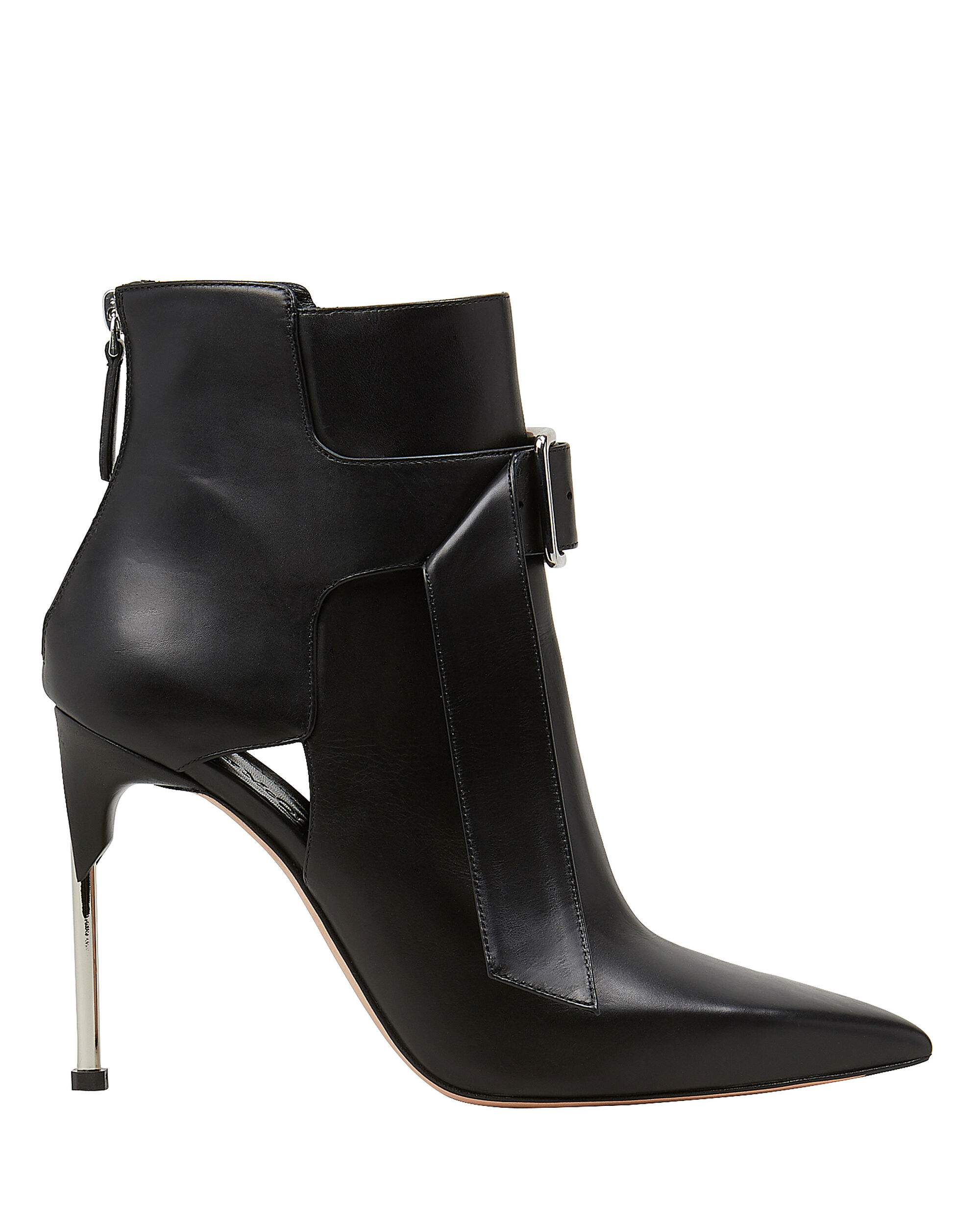 Buckled Black Leather Booties, BLACK, hi-res