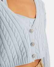 Phyllis Cropped Cable Knit Cardigan, BLUE-LT, hi-res