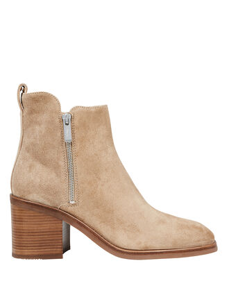 Alexa Suede Zip Booties, BROWN/BLACK, hi-res