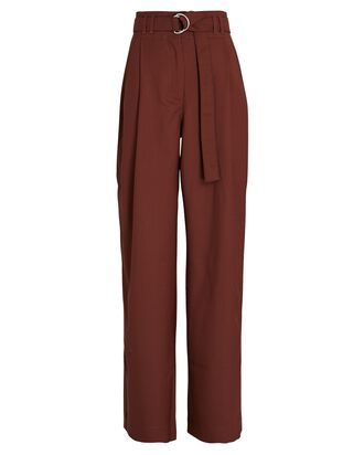 Belted Wide-Leg Pants, BROWN, hi-res