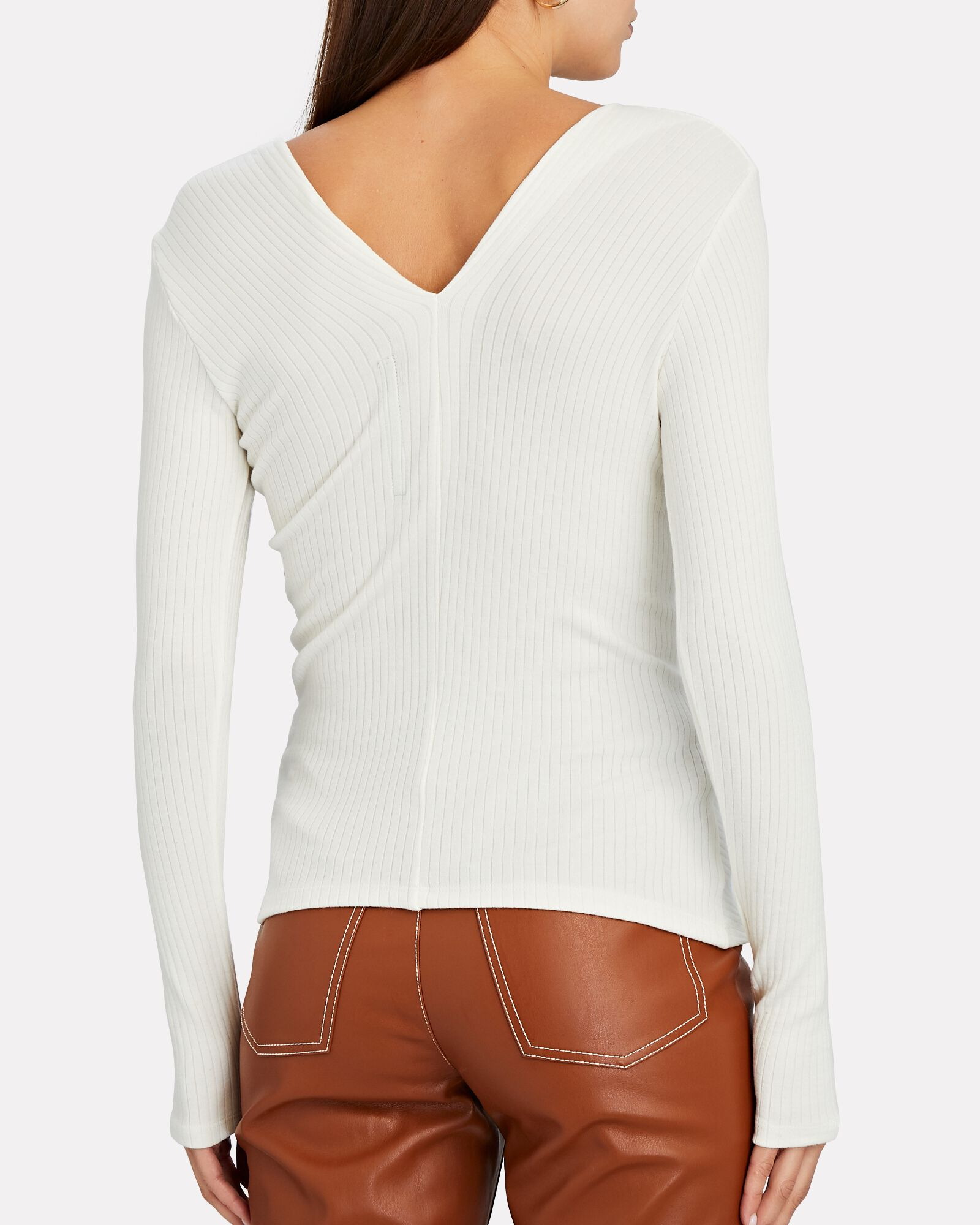Asymmetric Rib Knit Top, WHITE, hi-res