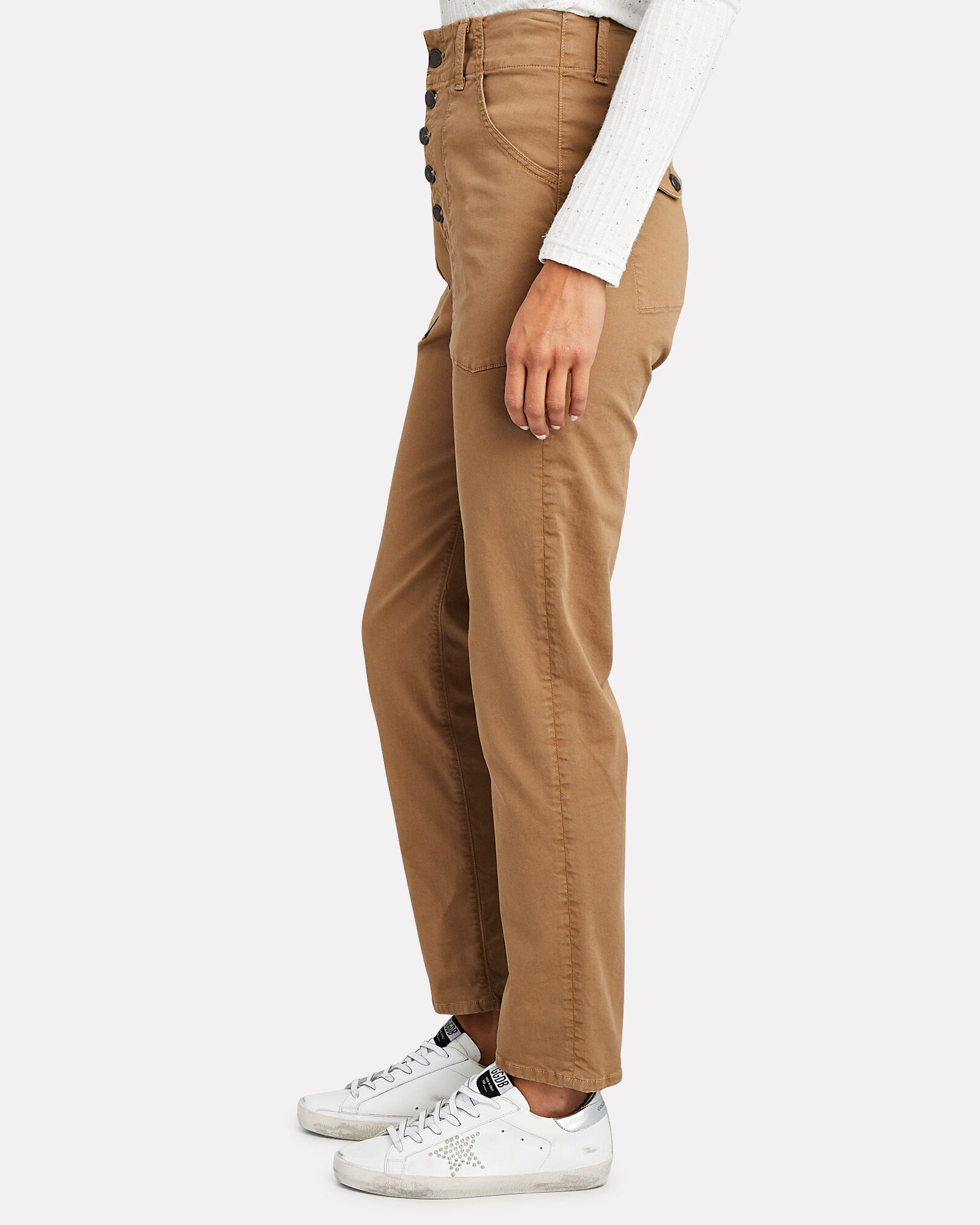 Arya Cargo Straight Crop Jeans, BROWN, hi-res