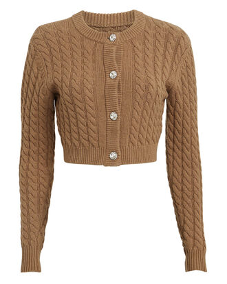 Lynnsey Cable Knit Cardigan, CARAMEL, hi-res