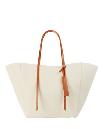 Caspia Leather-Trimmed Canvas Tote, BEIGE, hi-res