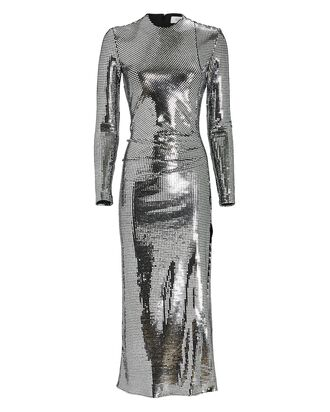Camille Sequined Midi Dress, SILVER, hi-res