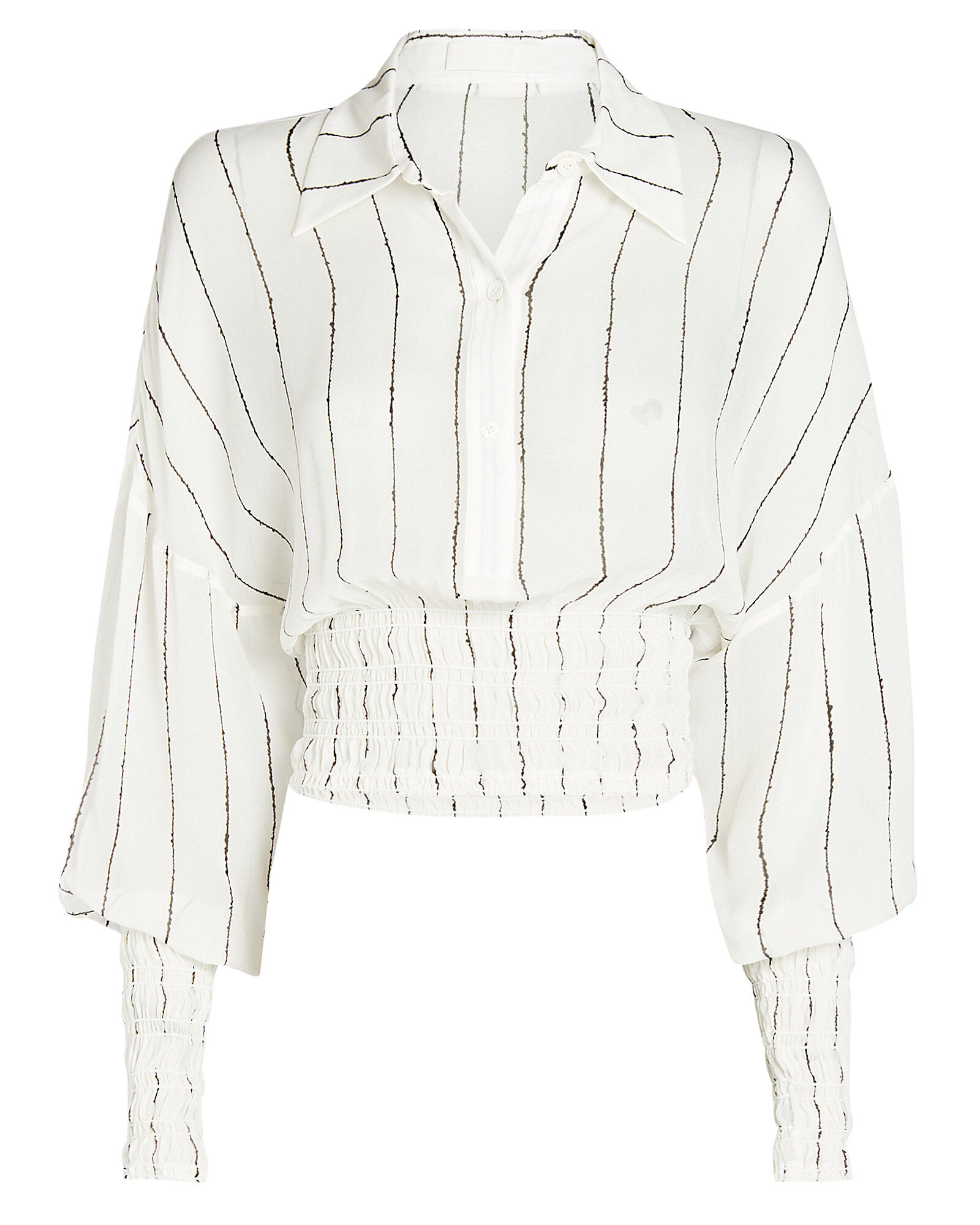 Shirred Striped Georgette Blouse, IVORY, hi-res