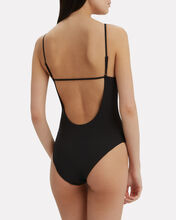 Jacque Barbell Detail One Piece Swimsuit, BLACK, hi-res
