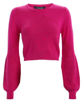 Crewneck Silk-Wool Sweater, MAGENTA, hi-res