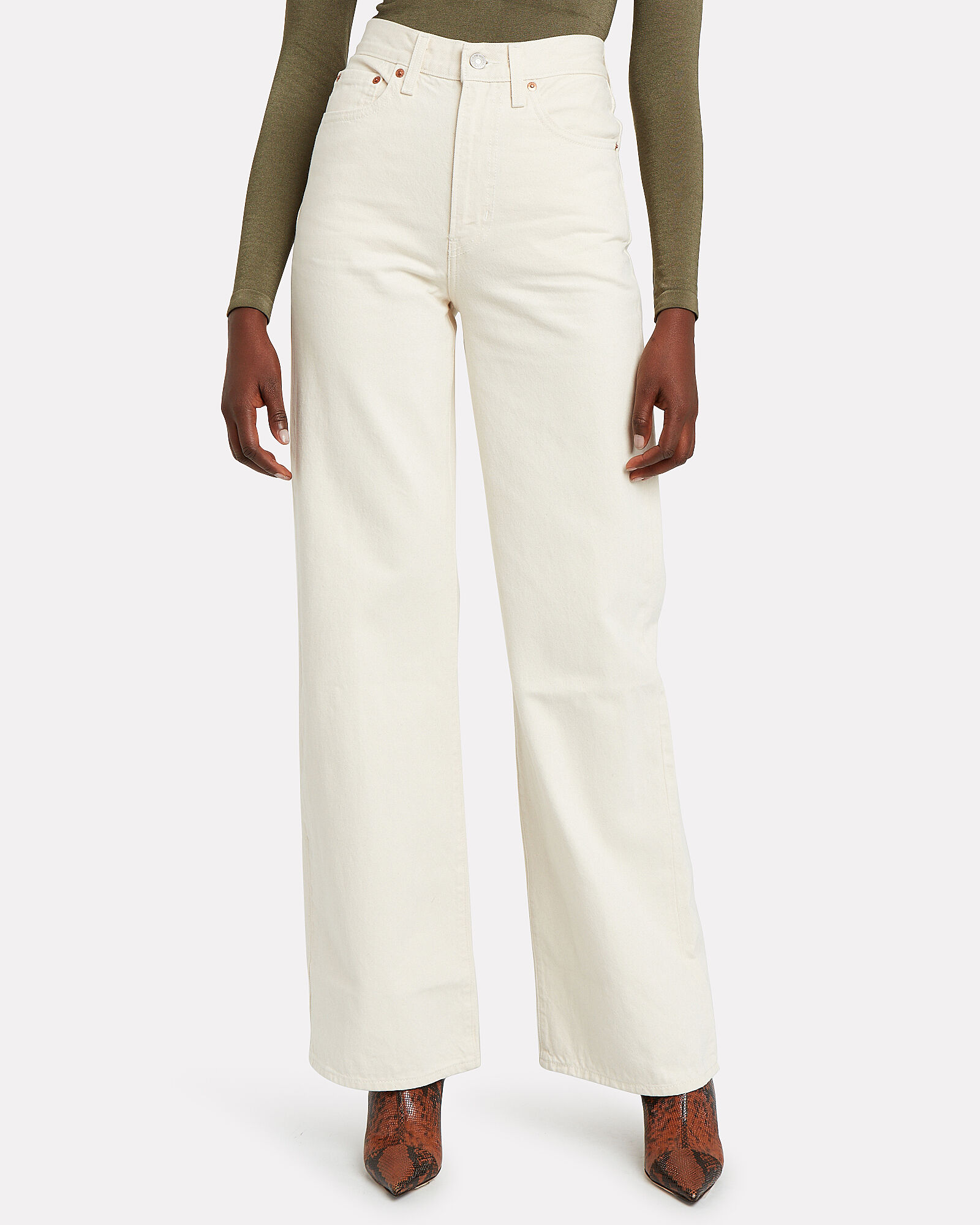 Ribcage Wide Leg Jeans, IVORY, hi-res