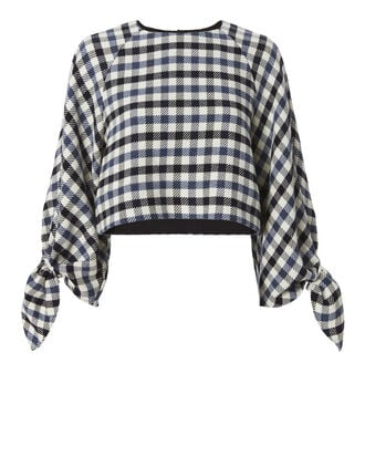 Fairfax Tie Sleeve Gingham Top, PATTERN, hi-res