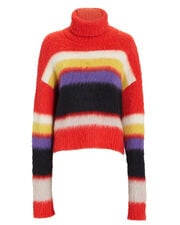 Chunky Turtleneck Striped Sweater, CORAL RED/WHITE/YELLOW/PURPLE/BLACK, hi-res