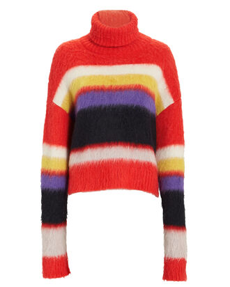 Chunky Turtleneck Striped Sweater, CORAL/WHITE/PURPLE, hi-res