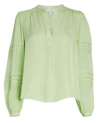 Clarissa Silk Blouse, GREEN-LT, hi-res