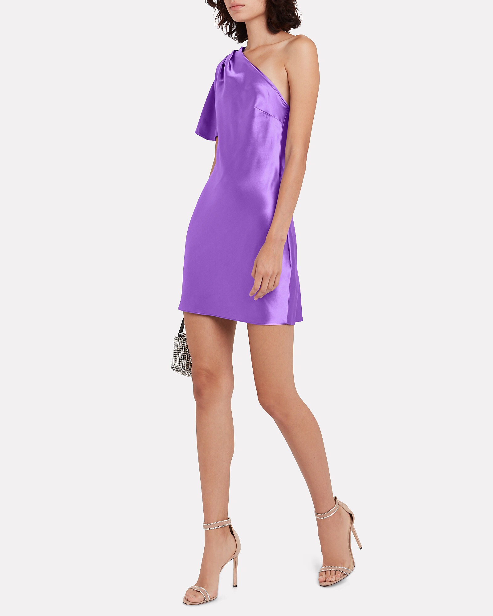 Satin Pleated One-Shoulder Mini Dress, PURPLE, hi-res