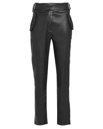 Janie Cropped Leather Trousers, BLACK, hi-res