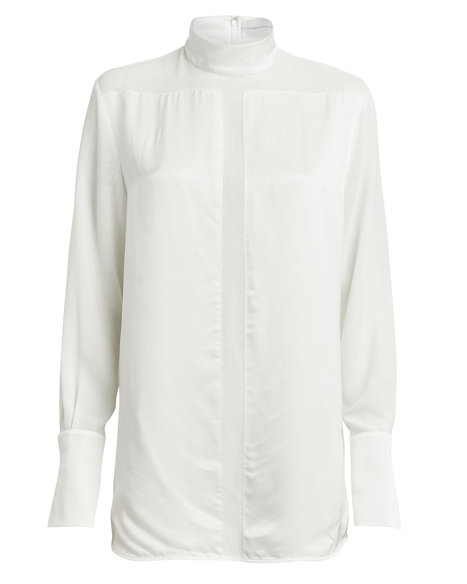 Organza-Trimmed Satin Tunic, WHITE, hi-res
