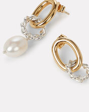 Two-Tone Twisted Pearl Hoops, MULTI, hi-res