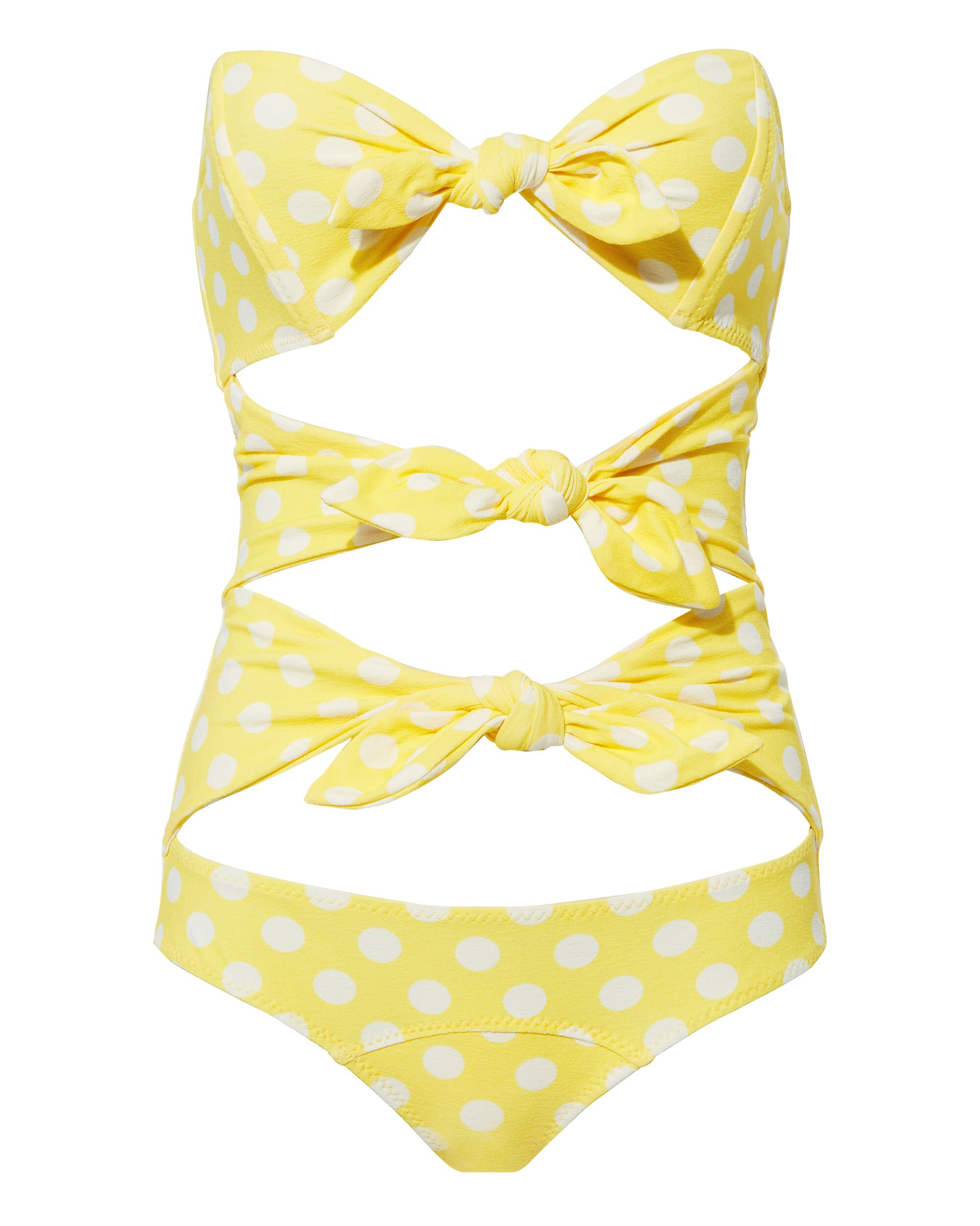 Yellow Polka Dot One Piece Swimsuit, YELLOW, hi-res