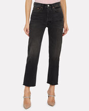 High-Rise Stove Pipe Jeans, AGED BLACK DENIM, hi-res