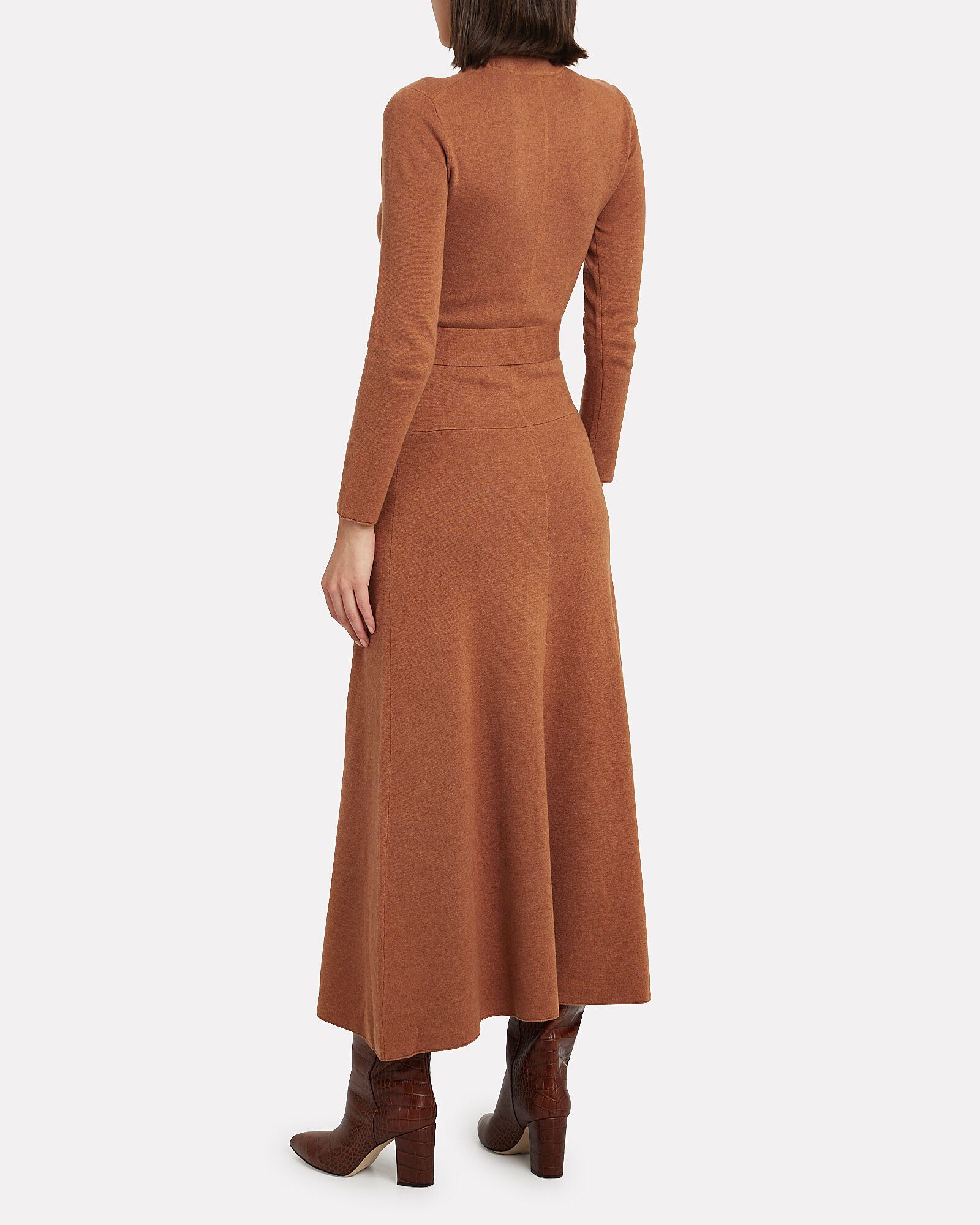 Mock Neck Wool-Blend Dress, CAMEL, hi-res