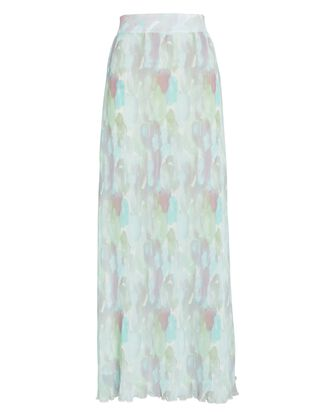 Watercolor Printed Georgette Maxi Skirt, PALE GREEN/BLUE, hi-res