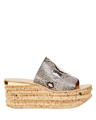 Camille Cork Wedge Sandals, BEIGE/SNAKESKIN PRINT, hi-res