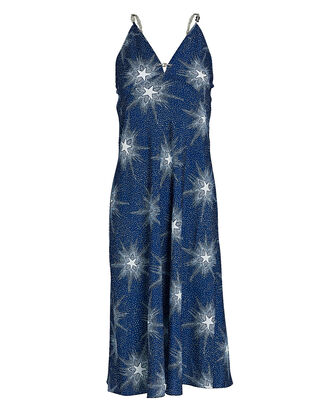 Chain Strap Star Print Slip Dress, NAVY, hi-res