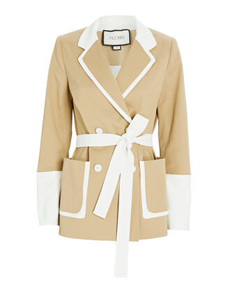 Baccio Belted Double-Breasted Blazer, BEIGE/WHITE, hi-res