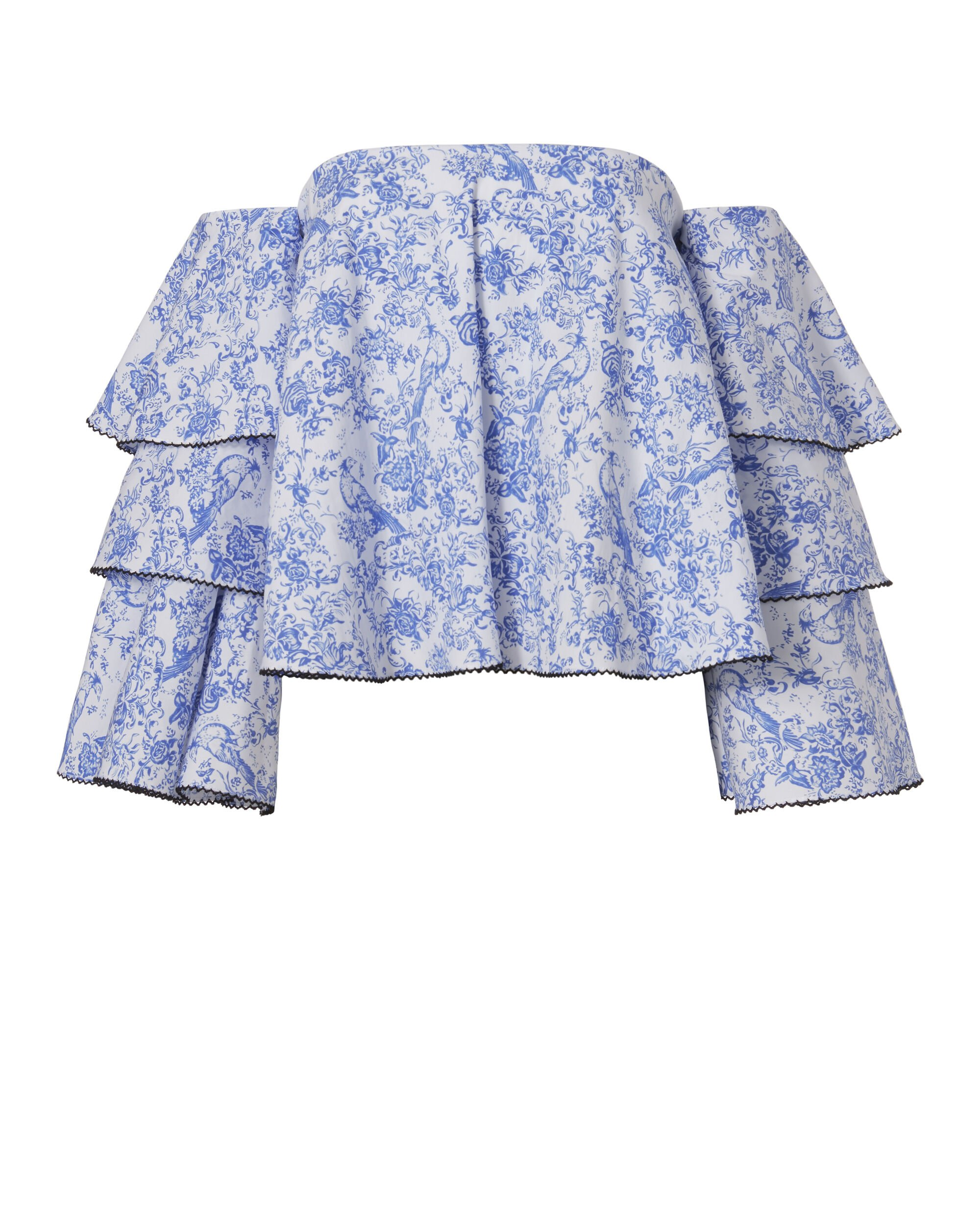 Carmen Blue Toile Off-The-Shoulder Top, BLUE, hi-res