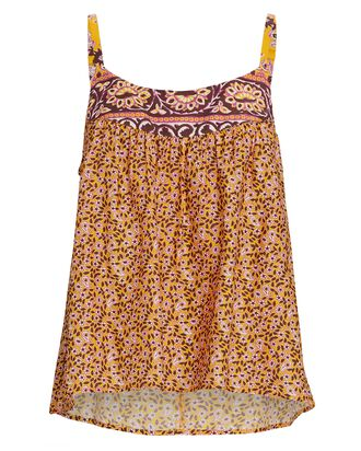 Kenley Floral Cotton-Silk Tank Top, YELLOW, hi-res