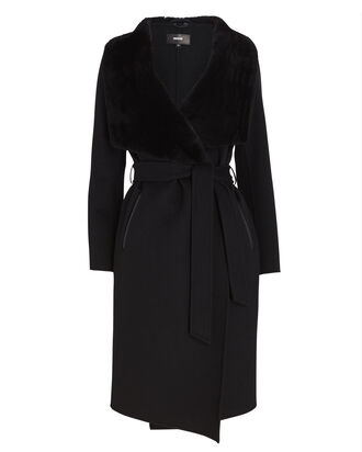 Sybil Shearling-Trimmed Wrap Coat, BLACK, hi-res