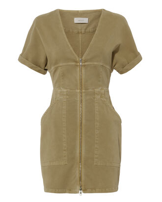 Novak Cotton Twill Zip Dress, BEIGE, hi-res