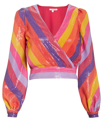 Kendall Sequin Blouse, RAINBOW/STRIPES, hi-res