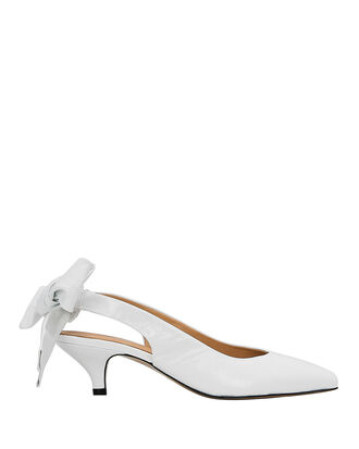 Sabine Bow Tie White Slingback Pumps, WHITE, hi-res