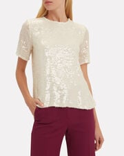 Sequin Embroidery T-Shirt, IVORY, hi-res