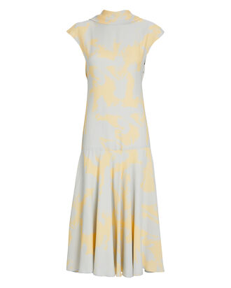 Printed Georgette Midi Dress, YELLOW/PALE BLUE, hi-res