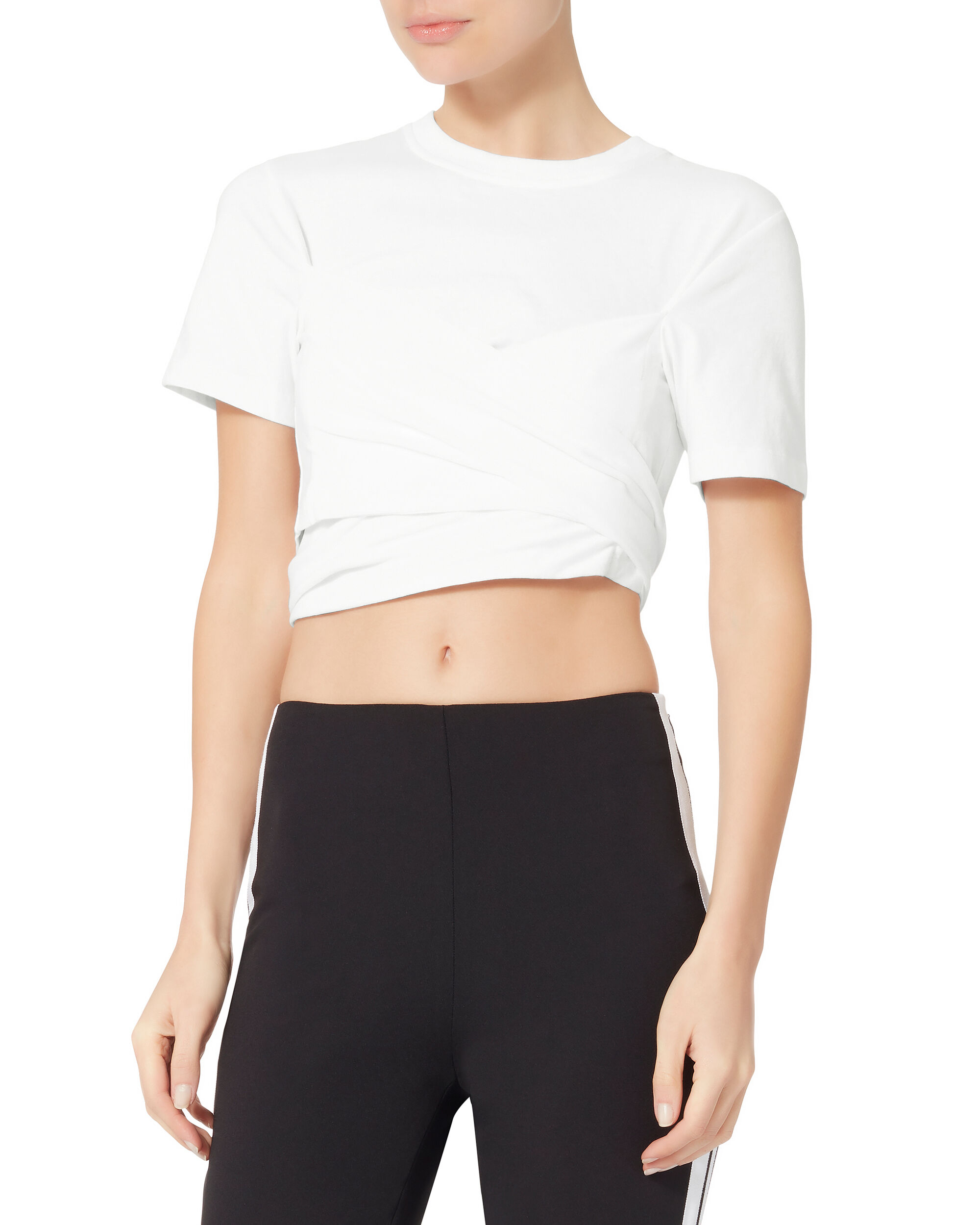 Crossover White Crop Top, WHITE, hi-res